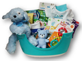 We don't want your little ones to grow up too fast!  But, when they are ready, this little step stool will help them get where they need to go.  This is a practical gift filled with many items to welcome the new baby boy.