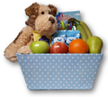 This storage box makes a great welcoming gift for a new baby and parents.  Perfect for the hospital or home, it has a little fresh fruit, baby items and plush puppy.