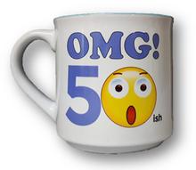 Fun emoji mug to wish someone a happy 50th ish birthday.