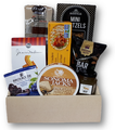 savoury foods - cheese, crackers, spicy sausage and snacks.