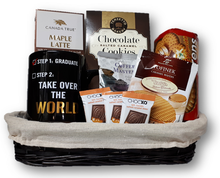 Step 1 is complete and this coffee basket is sure to get them moving towards 'taking over the world'.  (Or at least getting to work on time.)  Basket contains mug, Colombian coffee, cookies and chocolate.