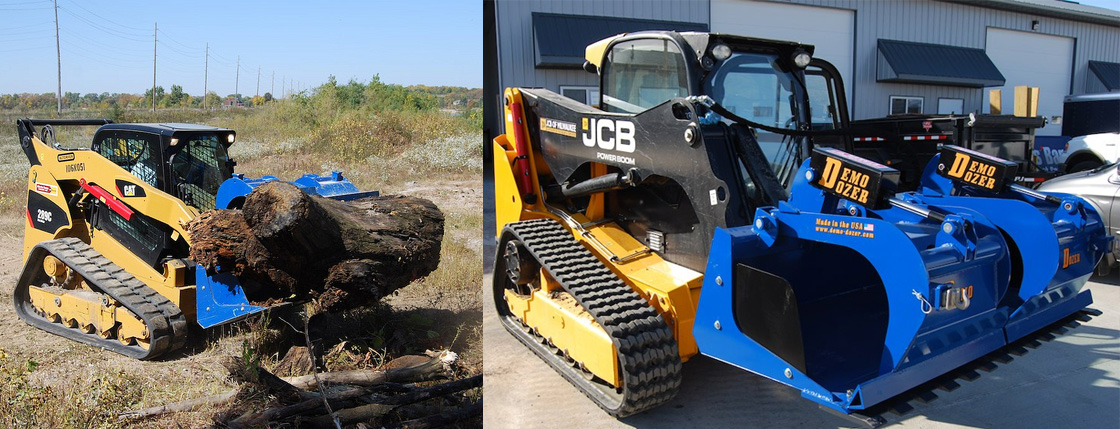 The Demo-Dozer is a multi-functional Skid Steer Grapple that is able to do tasks that usually require 6 or 8 individual attachments