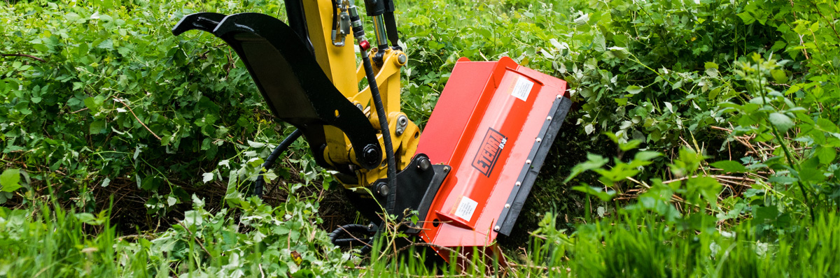 Roadside mowing with the Eterra EX-30 Flail Mower for compact excavators