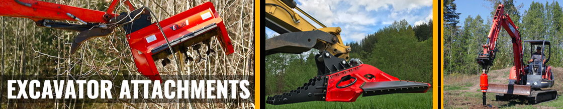 Excavator Attachments for Mowing, Concrete Breaking, Post Driving and more!