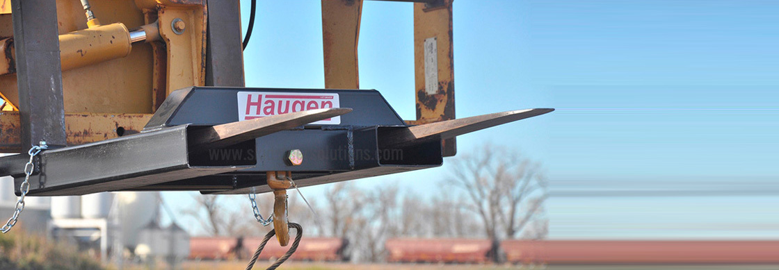 Wide range of skid steer and telehandler attachments from Haugen