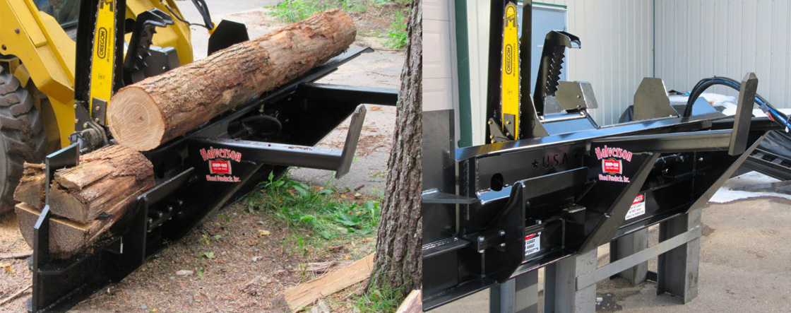 Cut logs and process firewood with maximum speed and efficiency thanks to this Halverson skid steer attachment