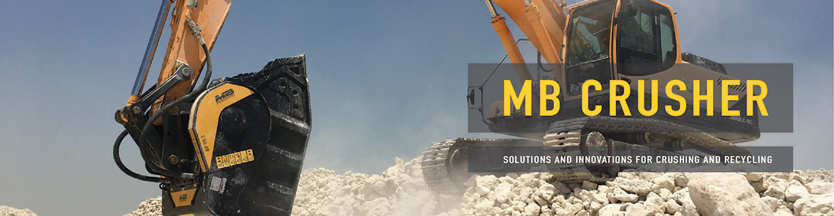 MB Crusher Bucket Attachments for skid steer loaders, excavators and backhoe machines.