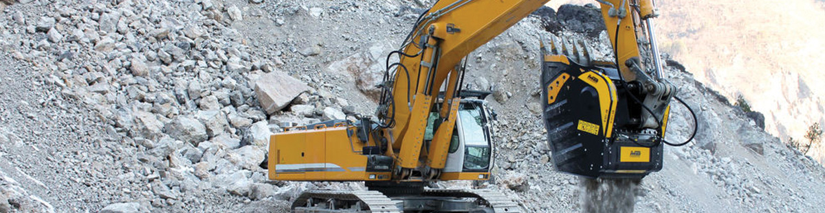MB Crusher Bucket on Excavator