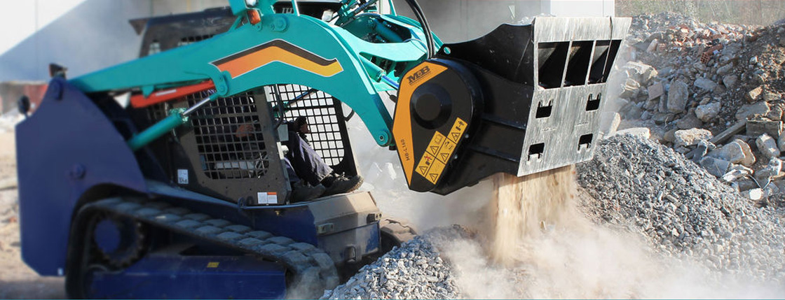 Material crushing and screening with MB Attachments