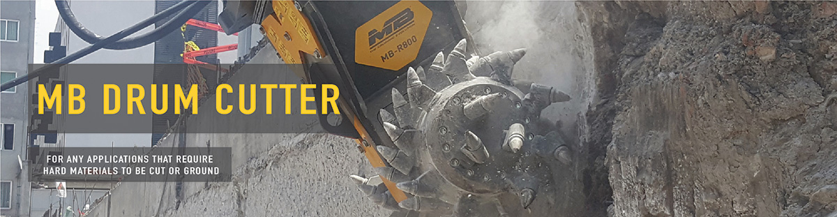 MB Drum Cutter Attachments for skid steer loaders, excavators and backhoe machines.