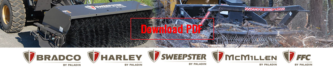 Paladin Attachments and its light attachment divisions, Bradco, Harley, FFC, McMillen and Sweepster provide an excellent range of Skid Steer Attachments. Find more at SkidSteerSolutions.com