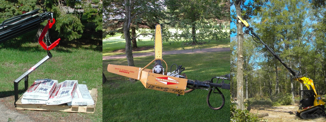Shop all of Sheyenne's incredible Skid Steer attachments including Tele-Saw and Teleboom