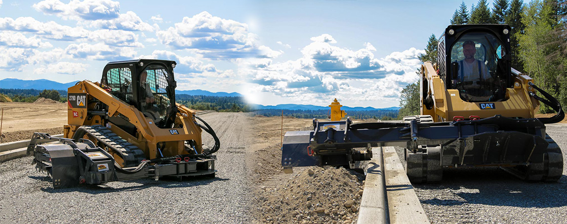 Side Tool Trencher attachment on a skid steer motor - buy direct from Skid Steer Solutions