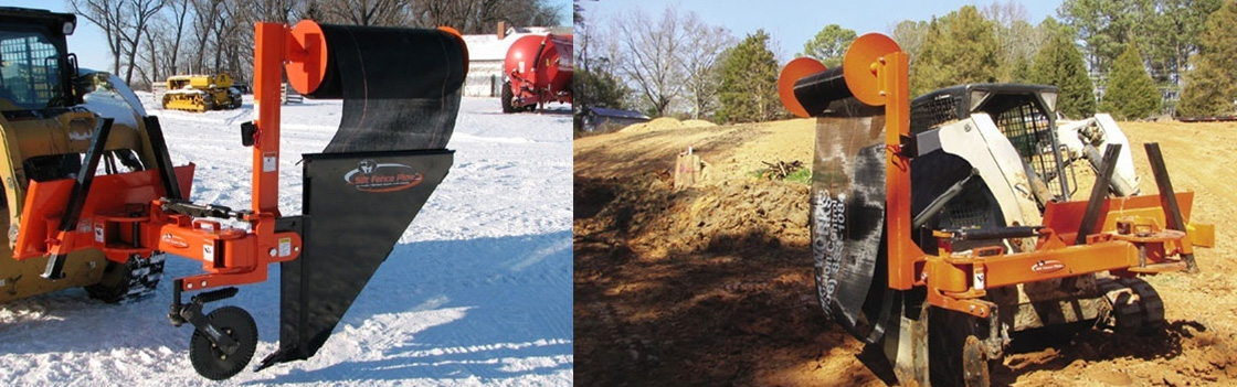 Both rotary and push/pull silt fence plow attachments for skid steer loaders