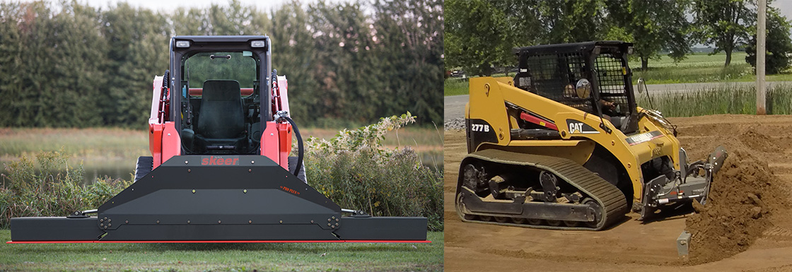 Skeer System of push and grade attachments for skid steer loaders