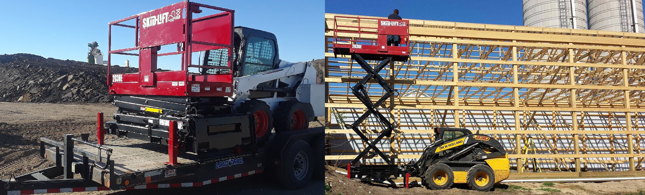 Skid Steer Loader with Scissor Lift Attachment