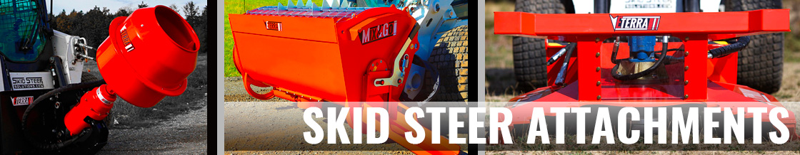 Large selection of attachments for skid steer loaders