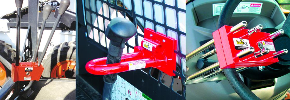 Equipment locks for skid steer loaders, excavators, backhoes, lawn mowers and more