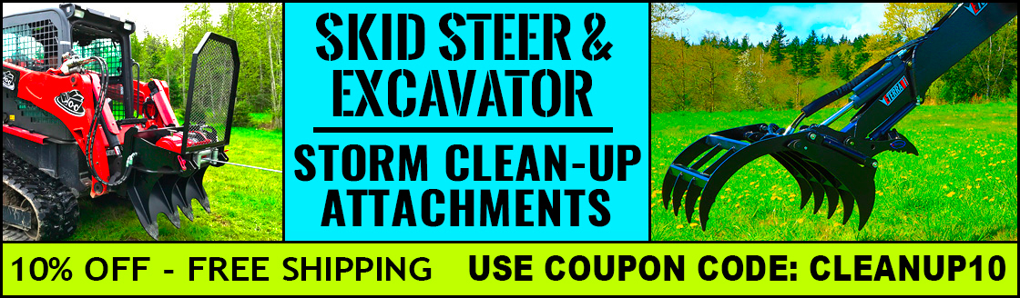 Storm clean up grapples, mowers, and backhoes for Skid Steer Loaders and Compact Excavators