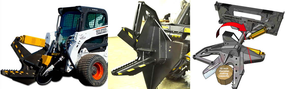 Timberline makes heavy duty tree shear attachments for skid steer loaders, excavators and mini skid steers