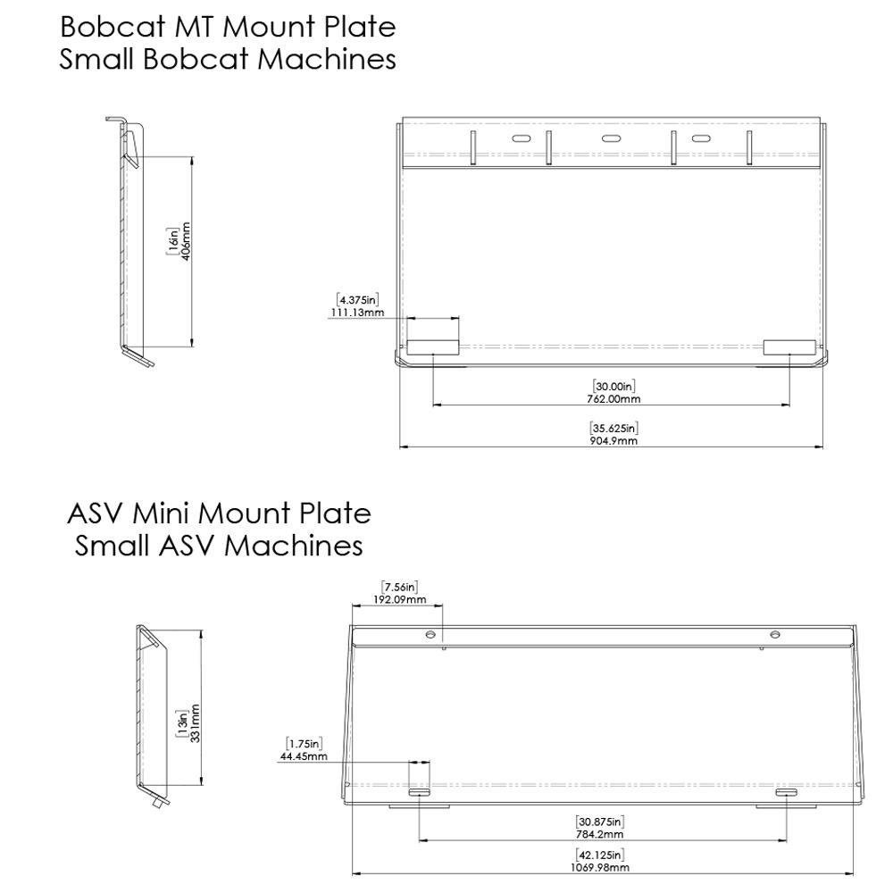 Dimensions for Bobcat MT and Mini ASV Quick Attach Plate