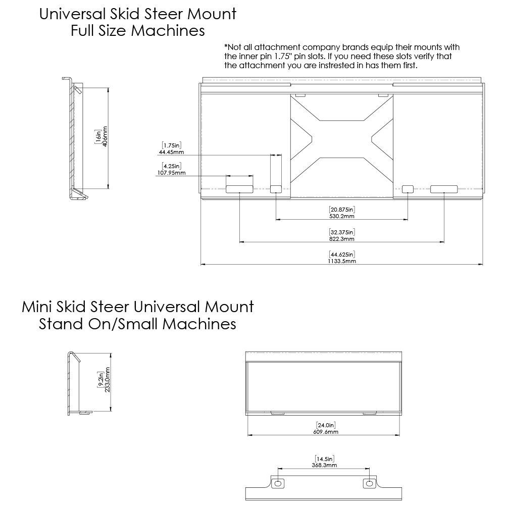 Dimensions for Skid Steer and Mini Skid Steer Universal Quick Attach Plate