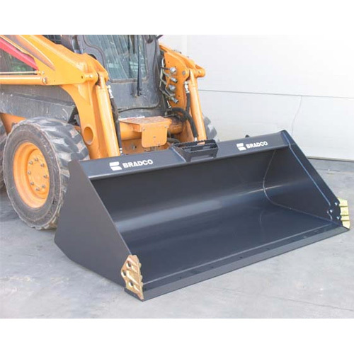 Bradco Skid Steer High Capacity Heavy Duty Bucket Attachment with side plates
