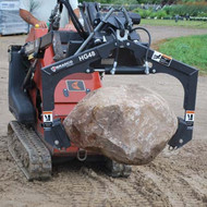 The Bradco Hardscrape Grapple Attachment can even be used for large rocks and boulders