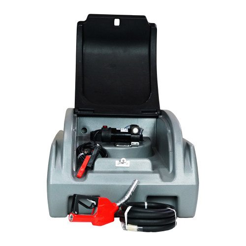 Front View - Portable Diesel Tank - 10 Foot Hose and 10 GPM Pump - Lockable Lid