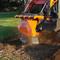skid steer stump grinder demonstration action image