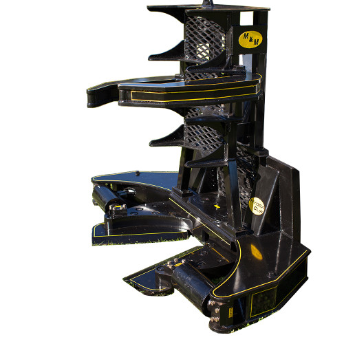 M&M Skid Steer Hydra-Clip Tree Shear with Tree Grapple Attachment