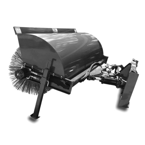 CID Skid Steer Hydraulic Angle Broom with Mount and hydraulic angle mechanism.