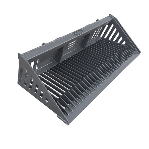 """Skid Steer Heavy Duty Rock Bucket with 2 3/8"""" tines and 3/4"""" x 6"""" cut edge."""