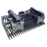 The X-Treme Duty Rock Grapple with build in teeth, bolt on sides, and cylinder covers.