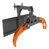 Skid Steer Forestry Claw featuring orange claw.