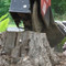 The Bradco Stump Grinder Attachment utilizes a cylinder that pushes the cutting wheel from side to side in a swinging motion.