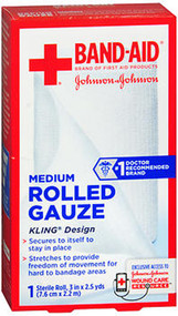 """Johnson & Johnson Red Cross First Aid Rolled Gauze 3"""" - Each"""