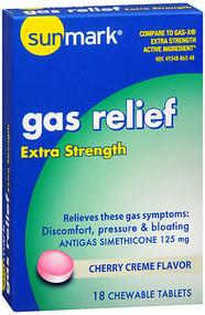 Sunmark Gas Relief, Chewable Tablets, Extra Strength, Cherry Creme Flavor - 18 Tablets