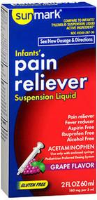 Sunmark Infants' Pain Reliever, Suspension Liquid, Grape Flavor - 2 oz