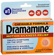 Dramamine Motion Sickness Relief Chewable Tablets Orange Flavored - 8 Tablets