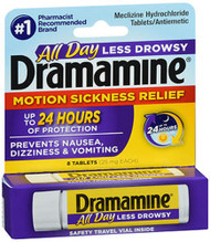 Dramamine Motion Sickness Relief Less Drowsy Formula - 8 Tablets