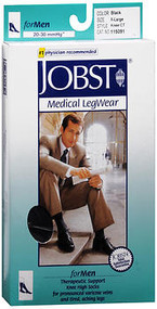 Jobst Medical LegWear For Men Knee High 20-30 mmHg Black X-Large Close-Toe #115091