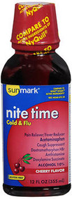 Sunmark Nite Time, Cold & Flu Liquid, Cherry Flavor - 12 oz