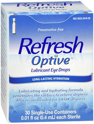 Refresh Optive Lubricant Eye Drops Single Use Containers- 30 ct