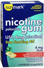 Sunmark Nicotine Polacrilex Gum 4 mg Mint - 110 ct