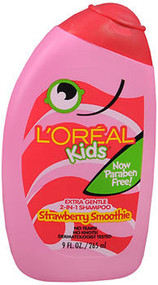 Image of pink bottle of strawberry smoothie hair care shampoo from L'Oreal
