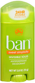 Ban Antiperspirant Deodorant Invisible Solid Sweet Simplicity - 2.6 oz