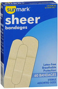 Sunmark Sheer Bandages Assorted Sizes - 60 ct