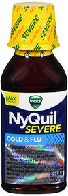 Vicks NyQuil Severe Cold Flu Liquid Berry Flavor - 8 oz