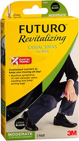 Futuro Revitalizing Casual Crew Socks for Men Large Black Moderate Compression - 1 pr